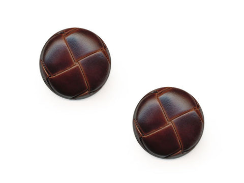 Round Leather Effect Buttons - Brown - 277