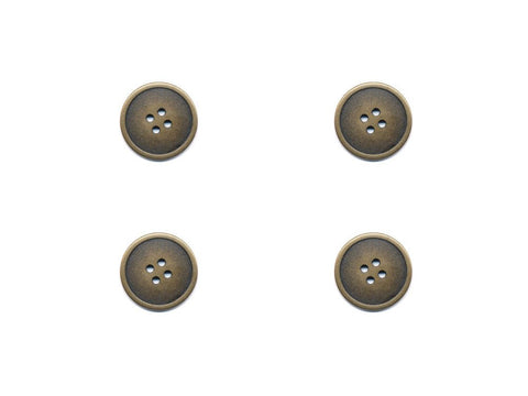 Rimmed Round Metal Buttons - Gold - 278