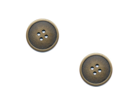 Rimmed Round Metal Buttons - Gold - 280