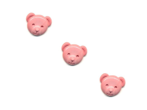Teddy Bear Head Shaped Rubber Buttons - Pink - 339