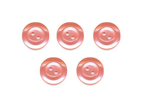 Pearlescent Rimmed Round Buttons - Pink - 361