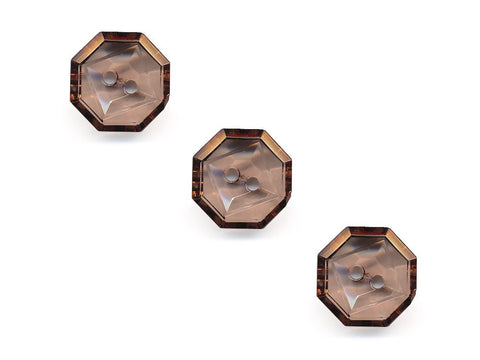 Transparent Octagonal Square Rimmed Buttons - Brown - 404