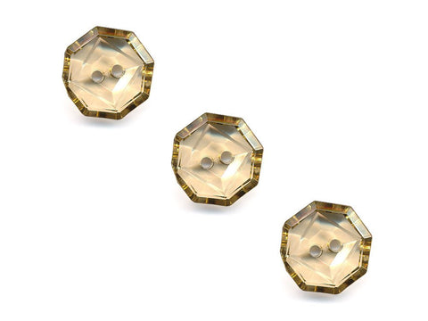 Transparent Octagonal Square Rimmed Buttons - Yellow - 406