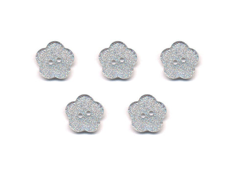 Transparent Flower Shaped Glitter Buttons - Silver - 411