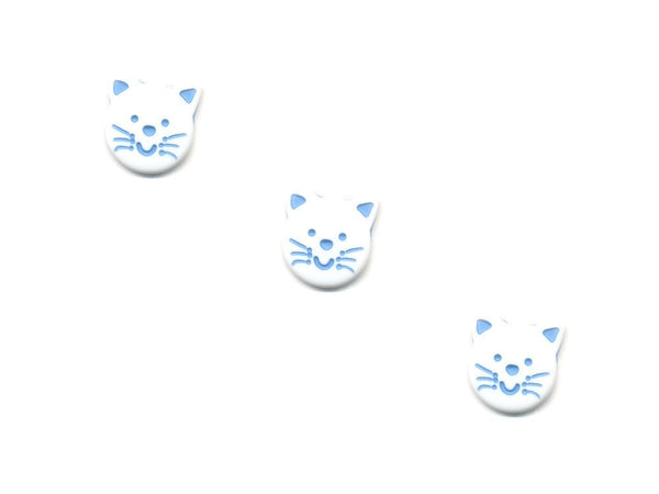 Novelty Cat Shaped Buttons - White & Blue - 448