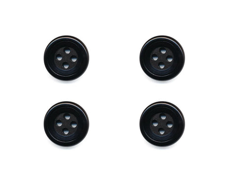 Round Double Rimmed Plain Buttons - Black - 466