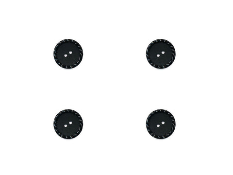 Round Plain Buttons with Textured Rim - Black - 484