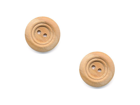 Round Double Rimmed Wooden Buttons - 516