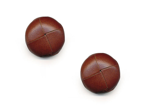 Round Leather Buttons - Brown - 555