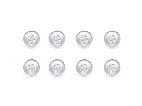 Round Pearlescent Thick Rimmed Buttons - White - 841