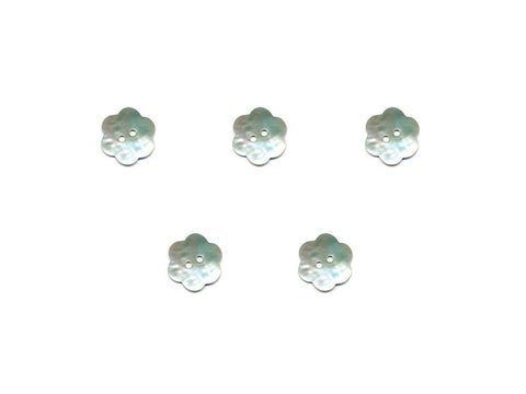 Flower Shaped Shell Buttons - Silver - 904