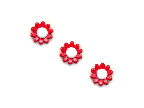 Flower Buttons - Red & White - 926