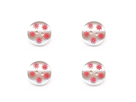 Round Pearl Effect Flower Print Buttons - Cream & Red - 966