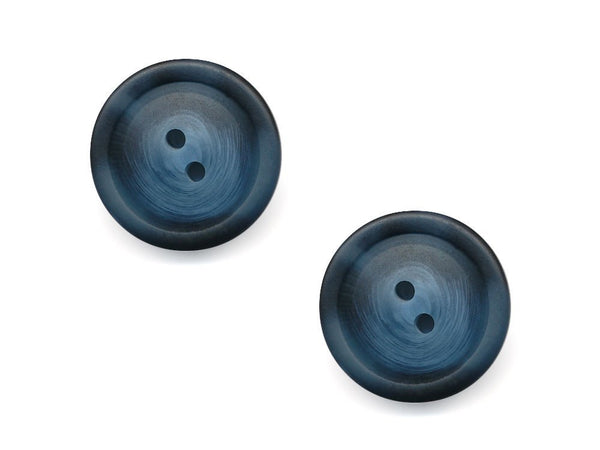 Chunky Round Rimmed Wood Effect Buttons - Blue - 980