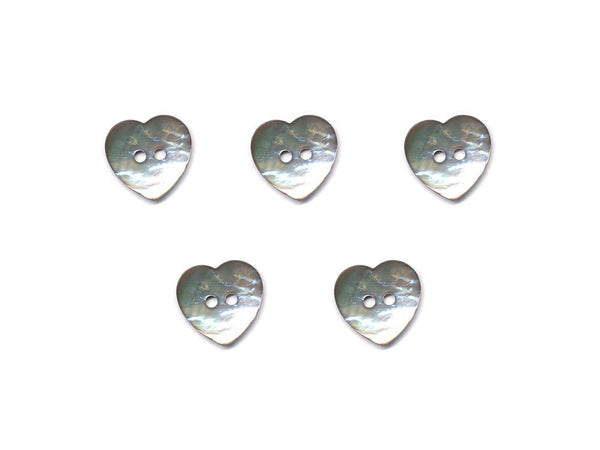 Heart Shaped Shell Buttons - Silver - 990