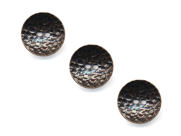 Concave Metal Textured Buttons - Bronze - 993
