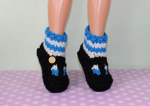 Childrens Super Chunky Stripe Sock T Bar Sandal Slippers by MadMonkeyKnits (1037) - Digital Version