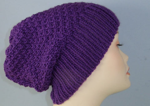 Chunky 2 Stitch Check Slouch Hat by MadMonkeyKnits (793) - Digital Version