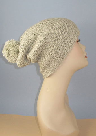 Chunky Big Bobble Double Moss Stitch Slouch Hat by MadMonkeyKnits (966) - Digital Version
