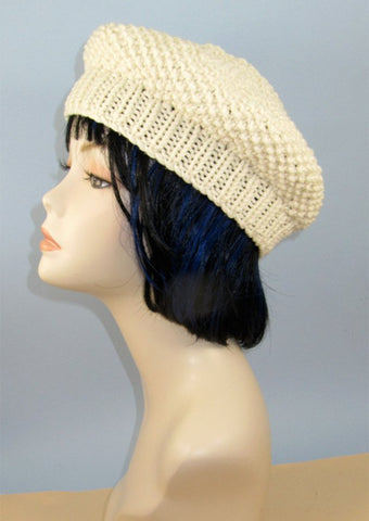 Chunky Moss Stitch Beret Hat by MadMonkeyKnits (938) - Digital Version