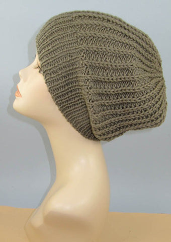 Chunky Simple Fishermans Rib Slouch Hat by MadMonkeyKnits (957) - Digital Version