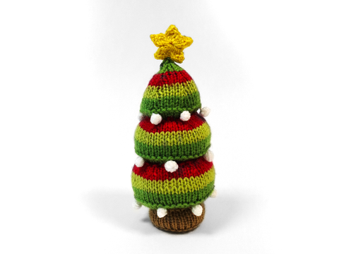 Christmas Pin Tree Cushion Knitting Kit and Pattern in Deramores Yarn