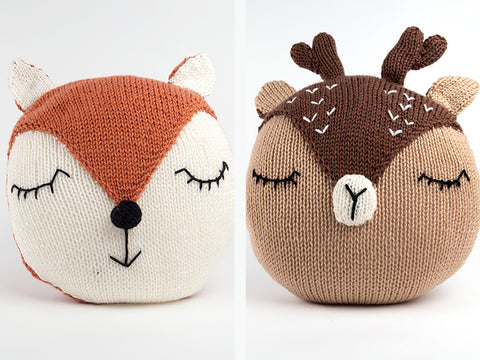 Fox and Deer Cushions Knitting Kit and Pattern
