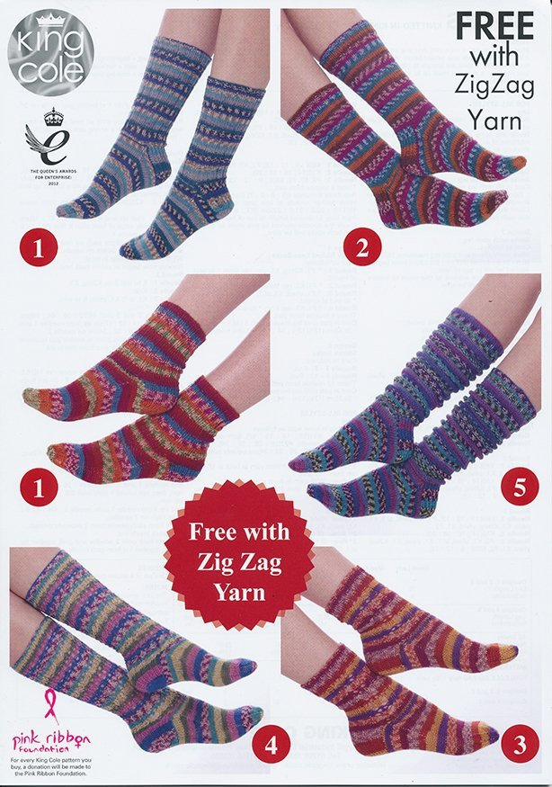 Socks in King Cole New Zig Zag 4 Ply – Deramores US