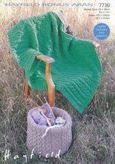 Basket Cover and Throw in Hayfield Bonus Aran (7730)