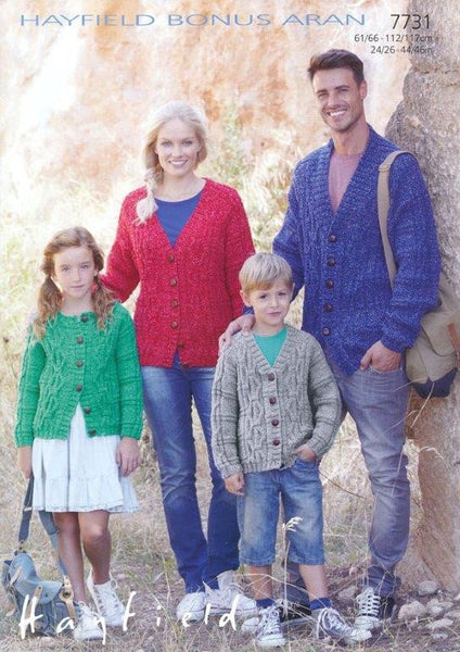 Family Cardigans in Hayfield Bonus Aran (7731)