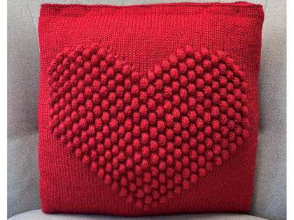 Heart Bobble Cushion Knitting Pattern in Deramores Yarn