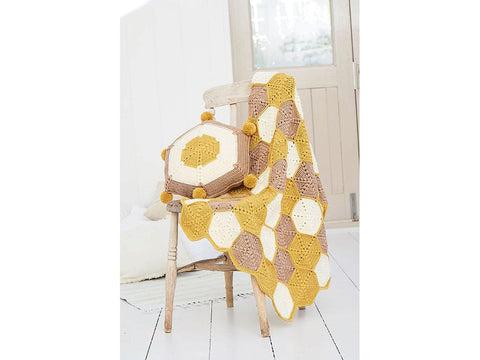 Honeycomb Blanket and Cushion by Helen Boreham in Stylecraft Bellissima DK