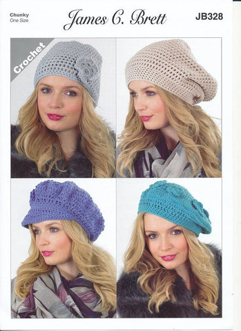 Crochet Hats in James C. Brett Noodles (JB328)