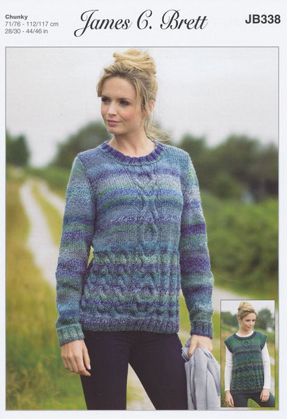 Sweater and Slipover in James C. Brett Marble Chunky (JB338)