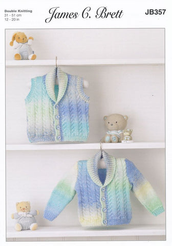 Cardigan and Waistcoat in James C. Brett Baby Marble DK (JB357)