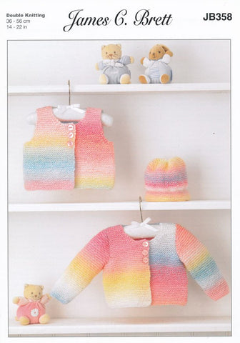 Cardigan, Waistcoat and Hat in James C. Brett Baby Marble DK (JB358)