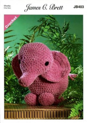 Ellie the Elephant Crochet Kit and Pattern in James C. Brett Yarn (JB403)