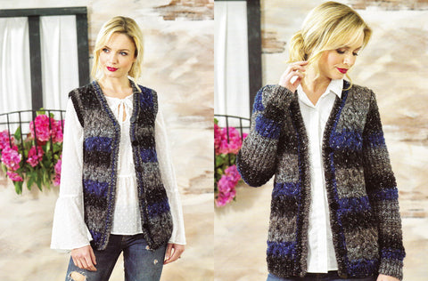 Ladies Cardigan & Waistcoat in James C. Brett Tuscany Chunky (JB468)