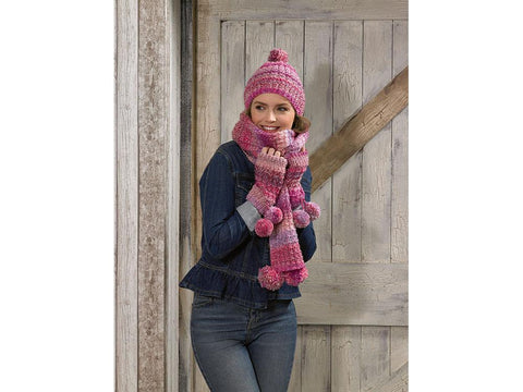 Scarf, Hat & Wrist Warmers in James C. Brett Marble Chunky (JB586)