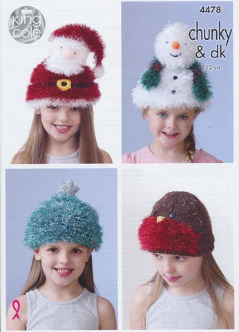 Kid's Novelty Hats in King Cole DK and Chunky (4478)