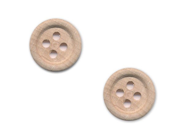 Rimmed Round Buttons - Wood - 100