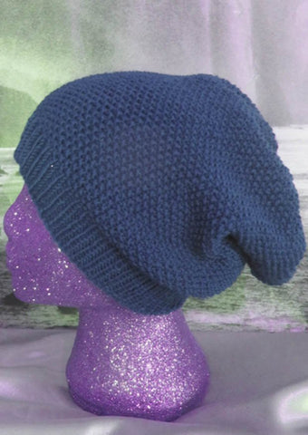 Moss Stitch Slouch Hat by MadMonkeyKnits (422) - Digital Version