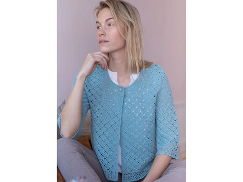 Crocheted Cardigan Crochet Kit and Pattern in Novita Yarn