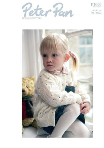Girls Round Neck Cardigan in Peter Pan DK (P1000) Digital Version