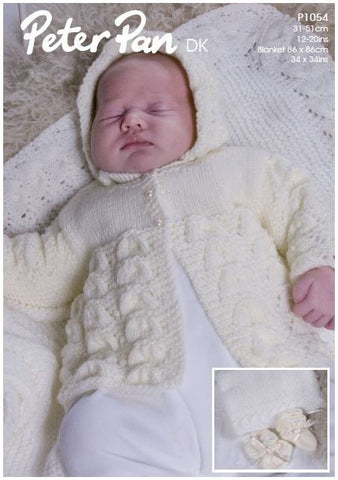 Matinee Coat, Bonnet, Bootees, Mittens and Shawl in Peter Pan DK (P1054) Digital Version