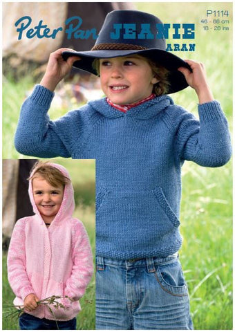 Hooded Jacket and Pocket Top in Peter Pan Jeanie Aran (P1114) Digital Version