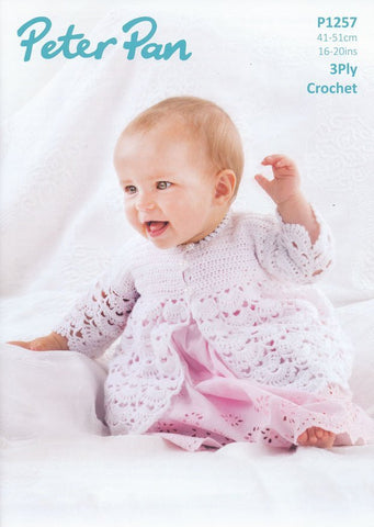Crochet Matinee Jacket and Bonnet in Peter Pan 3 Ply (P1257)