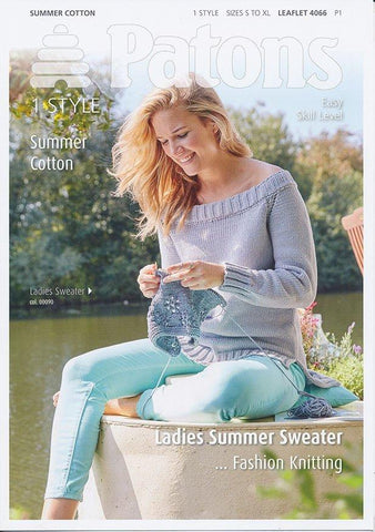 Ladies Summer Sweater in Patons Summer Cotton (4066)-Deramores