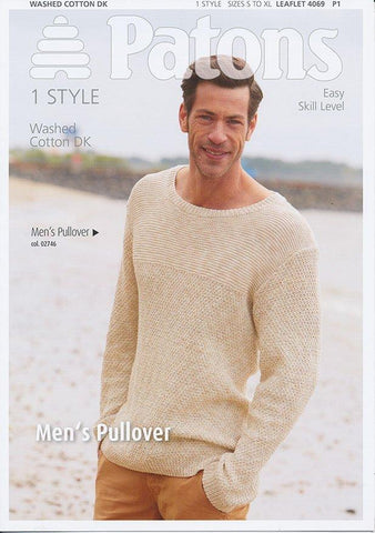 Mens Pullover in Patons Washed Cotton DK (4069)