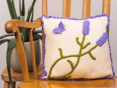 Lavender Cushion Crochet Kit and Pattern in Deramores Yarn